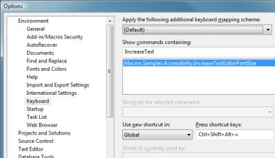 Visual Studio Options Window, Assigning Macro to Keyboard Command